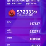 Apple iPhone 12 Pro MaxのAnTuTuベンチマーク結果はわずかながらパフォーマンスが向上